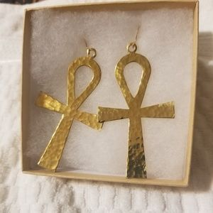 Brass ankh earrings xtra large